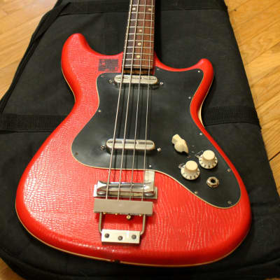 Vintage shortscale bass Althof 500B 1960s  / Red snakeskin vinyl for sale