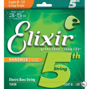 Elixir 15430 Nanoweb Nickel Plated Steel Long Scale Light B String for 5/6 String Bass (130)