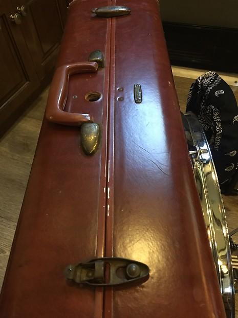 suitcase kick drum set custom made from vintage leather reverb. Black Bedroom Furniture Sets. Home Design Ideas