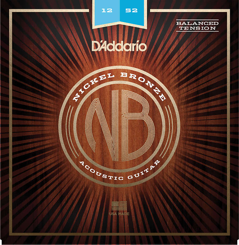 D'Addario NB1252BT Nickel Bronze Acoustic Guitar Strings, Balanced Tension Ligh