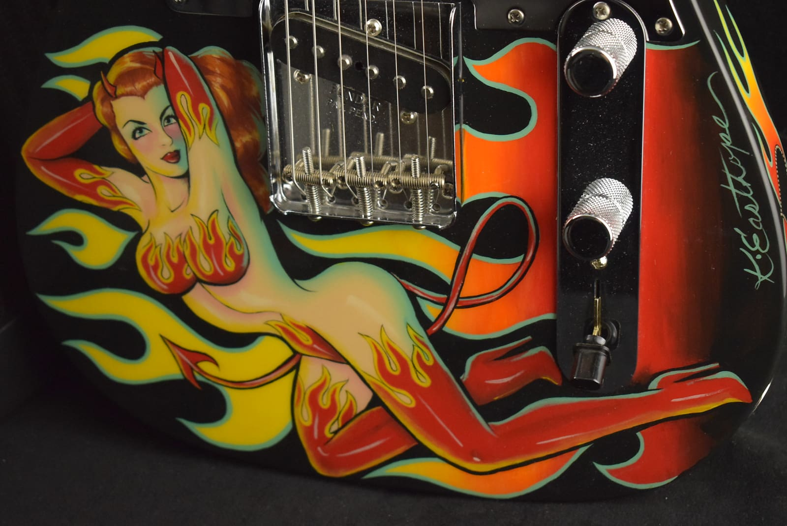 Fender Custom Shop Chris Fleming Esquire & Pro Jr Set w/ Pin Up Girl Graphic by Kirsten Easthope