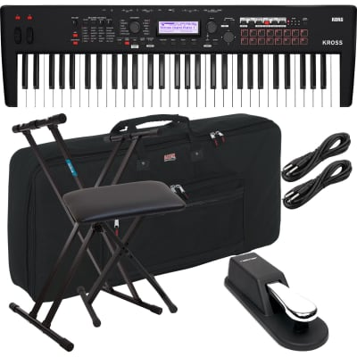 Korg KROSS 2 61-Key Synthesizer Workstation (Super Matte Black), Keyboard Stand, Bench, (2) 1/4 Cables, Sustain Pedal, Gator GKB-61 Bundle