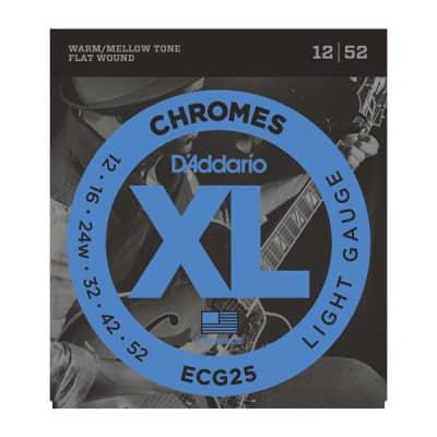 D'Addario XL Chromes Flat Wound Electric Guitar Strings - ECG25 Light Gauge 12-52