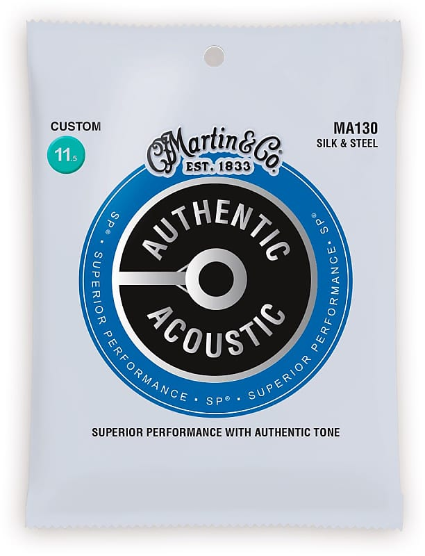 Jeu de cordes guitare acoustique Martin MA130 Authentic Silk /& Steel bronze