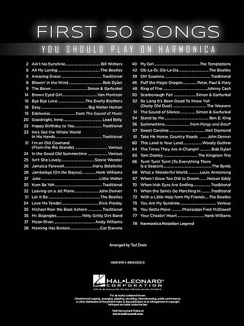 Hal Leonard First 50 Songs You Should Play on Harmonica | Reverb