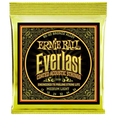 Ernie Ball Everlast Coated 80/20 Bronze Acoustic Guitar Strings - Medium Light (12-54)