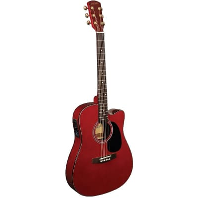 Indiana I-TB2RD Thin Body Dreadnought Cutaway Spruce Top 6-String Acoustic-Electric Guitar - Red for sale