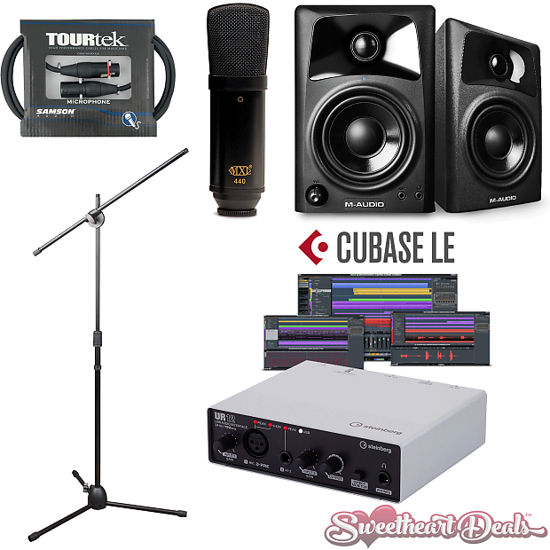 M AUDIO Home Recording Bundle Studio Package Samson M Audio AV32 Monitors!