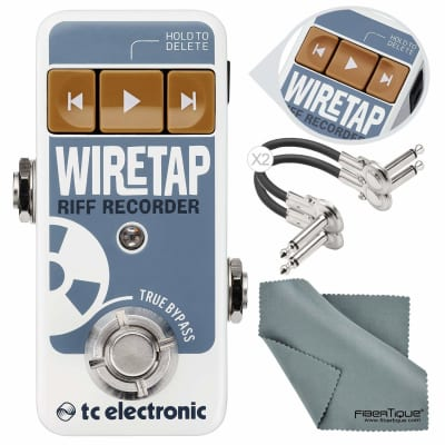 TC Electronic WireTap Riff Recorder Pedal with Bluetooth Connectivity and App with Cables and Fibertique Cloth Bundle