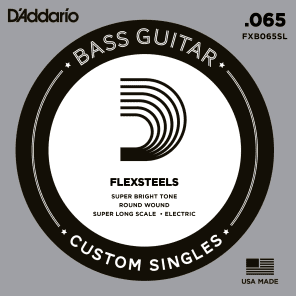 D'Addario FXB065SL FlexSteels Bass Guitar Single String Super Long Scale .065