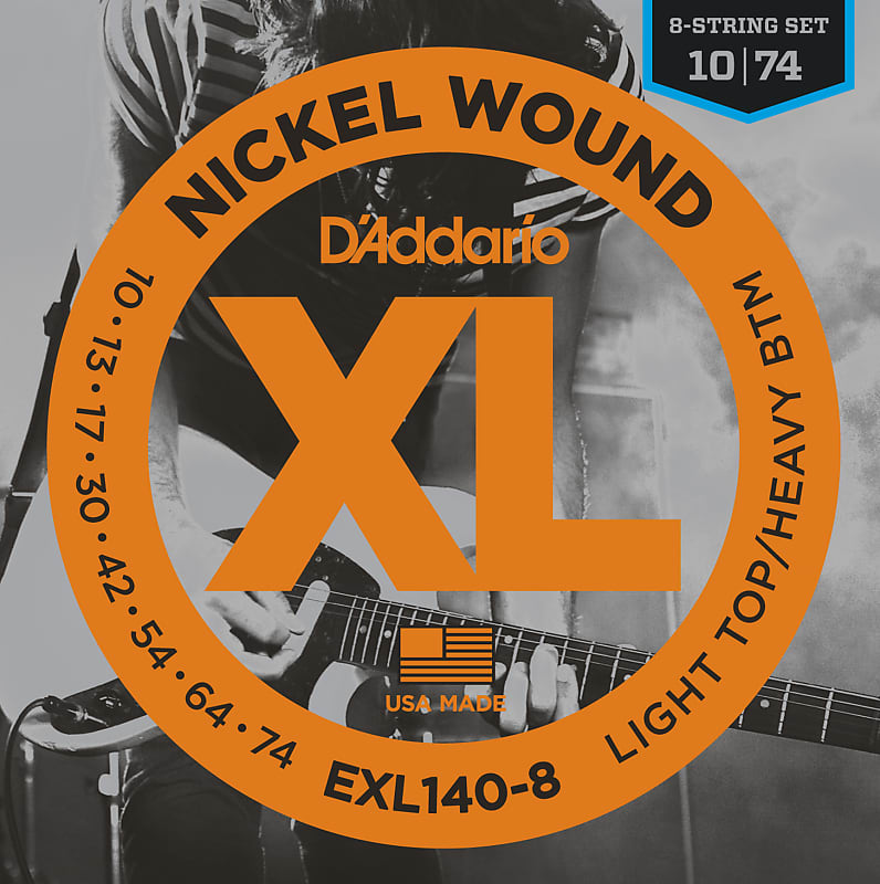 D'Addario EXL140-8 8-String Nickel Wound Electric Guitar Strings, Light Top/Hea