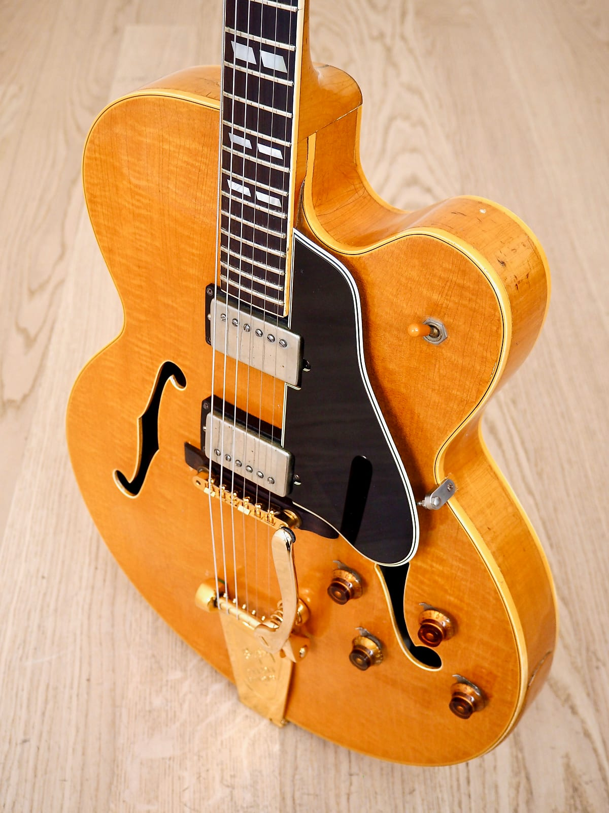1957 Gibson ES-350T Vintage Hollowbody Guitar PAF Pickups & Bigsby, Blonde w/ Case