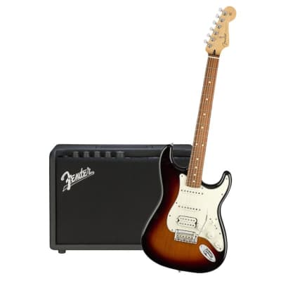 Fender Player Stratocaster HSS 3 Tone Sunburst Pau Ferro & Fender Mustang GT 40 Bundle for sale
