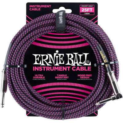 Ernie Ball 6068 Braided Instrument Cable, 25ft/7.6m, Black Purple for sale