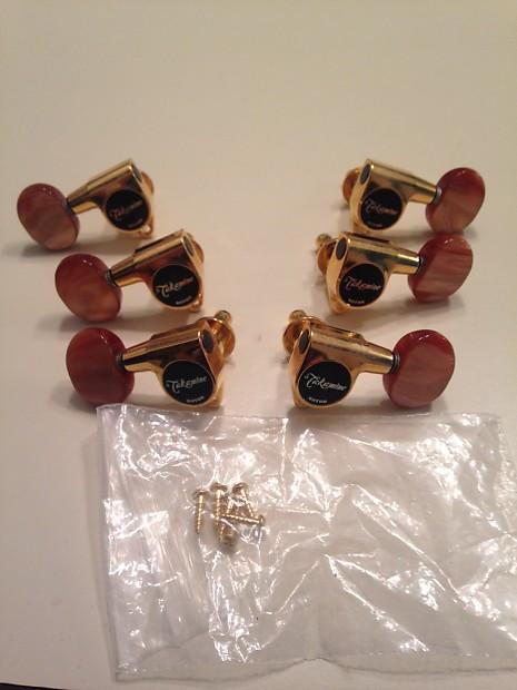 Takamine/Gotoh Set of (6)Tuners-Machine Heads #TP0508 - Pro Series  Gold/Brown