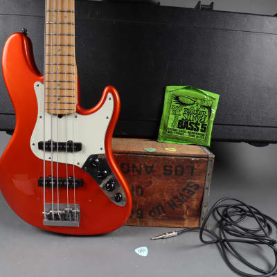 2002 Fender American Deluxe V 5-String Jazz Bass Candy Tangerine + SKB HC + Freebies  for sale