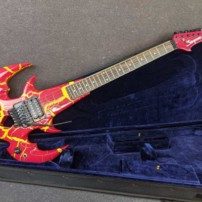 Scorpion Tri-Ryche Electric Guitar Red & Yellow Crackle Finish w/ Hard Case Queensryche Logo for sale
