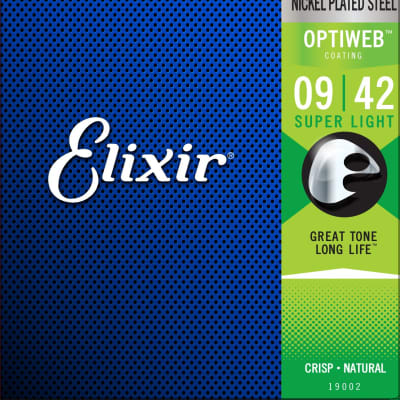 Elixir 19002 Optiweb Nickel Plated Steel Electric Guitar Strings - Super Light (9-42)