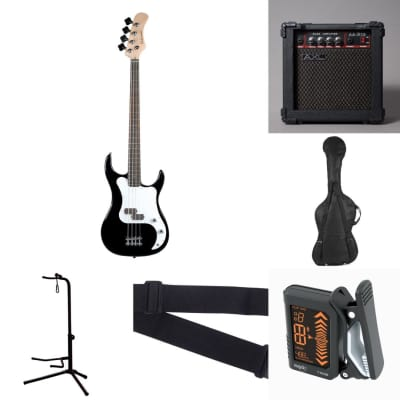 Baltimore BB-5 Black  4 String Electric Bass Pack +AXL 15W Amp Bag Strap Stand Tuner for sale