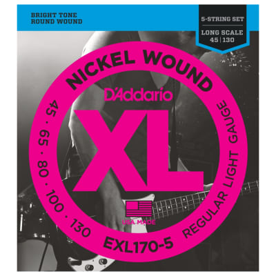 D'Addario XL Long Scale 5-String Bass Strings (45-130)