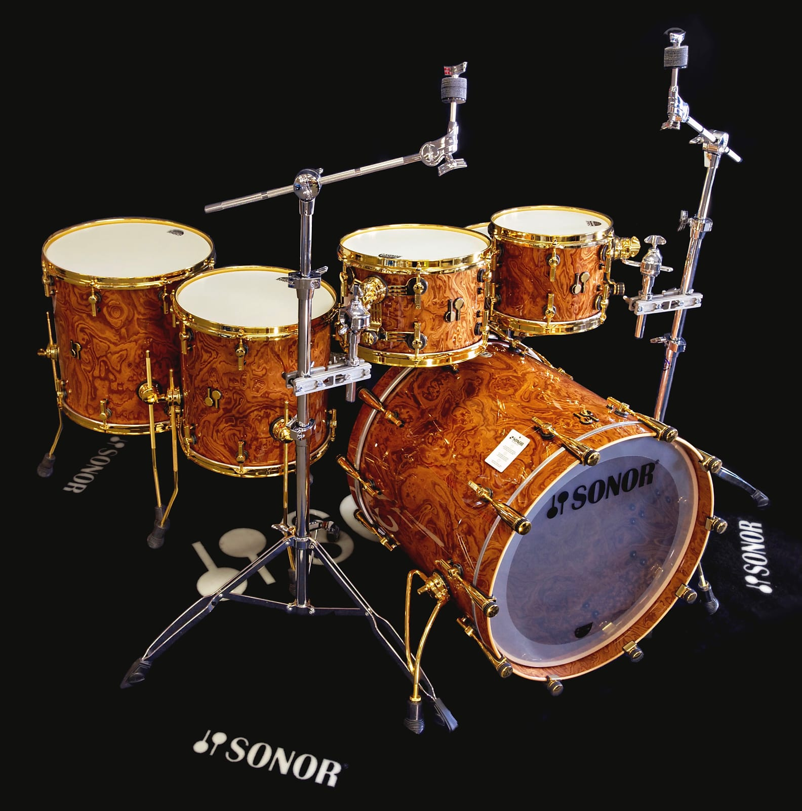 Sonor SQ2 5pc Shell pack - Walnut Roots with Gold Hardware 10,12,14,16,22