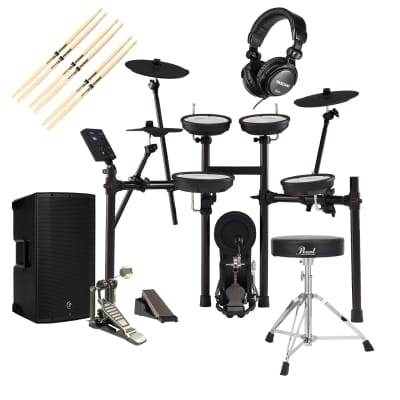 Roland TD-07KV V-Drums Electronic Drum, Mackie Thump12A, GP D719 Pedal, Pearl D-50 Chair, Tascam TH02, (3) Drum Sticks Bundle