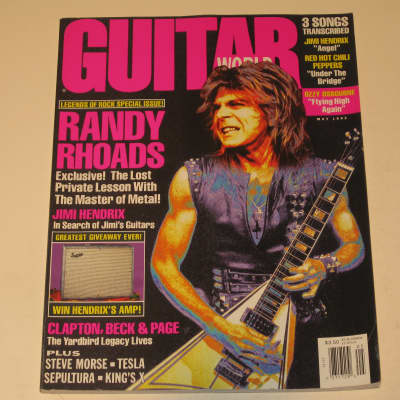 Guitar World May 1992 Randy Rhoads Ozzy Osbourne Jimi Hendrix Sepultura Tesla King's X Jeff Beck