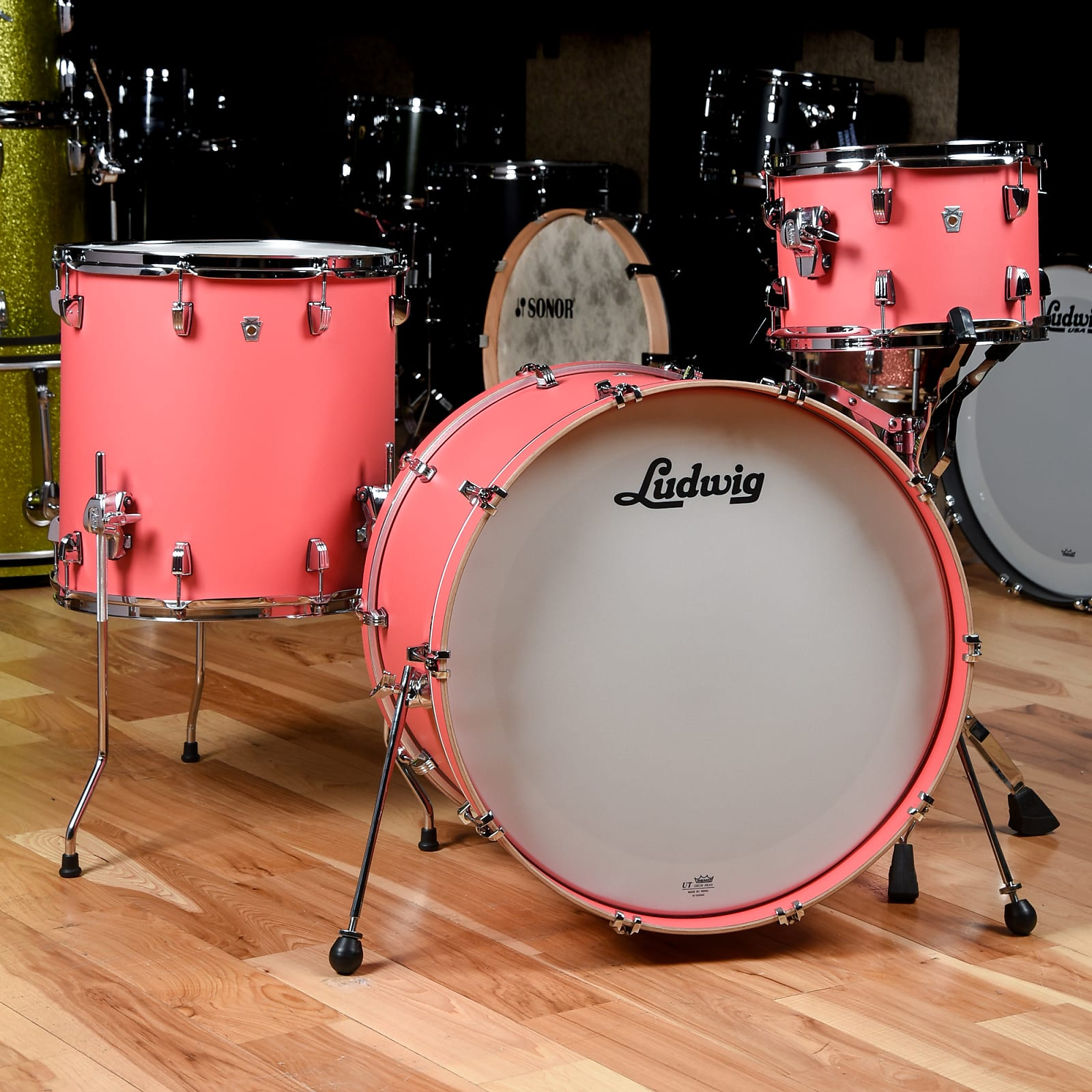 Ludwig Neusonic 12/16/22 3pc Drum Kit Coral Red