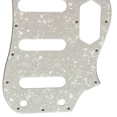 For Fender 4-Ply Squier Vintage Modified Bass VI Guitar Pickguard Scratch Plate, White Pearl