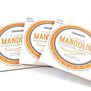 D'Addario EJ74-3D Phosphor Bronze Mandolin Strings - Medium (11-40) 3-Pack