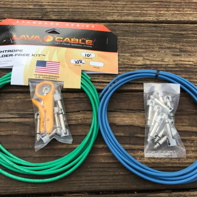 LAVA CABLE TIGHTROPE Solder-Free XL Pedalboard Kit 20ft Cable 20 RA V2 Plugs - BLUE & GREEN image