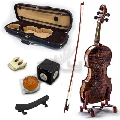 SKY Premier 4/4 Size Artist Violin Outfit Hand-made Antique Style Beautiful Phoenix Carved Back