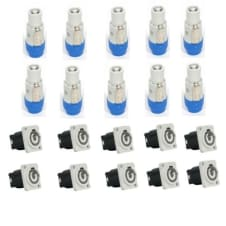 10  Powercon Female A Gray Connectors & 10 Panel Mount AC PowerCon Set by Seetronic