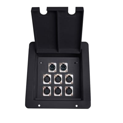 Elite Core FB8 Recessed Floor Box with 6 XLRF + 2 Ethernet Pass-Through Jack image