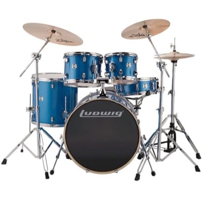 Ludwig Evolution Complete 5-Piece Drum Kit, Blue Sparkle