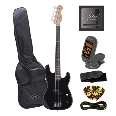 Artist PB34 Black 3/4 Size Electric Bass Guitar with Accessories for sale