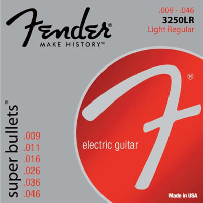 Fender® Super Bullet® Strings, Nickel Plated Steel, Bullet End, 3250LR Gauges .009-.046, (6) - Default title