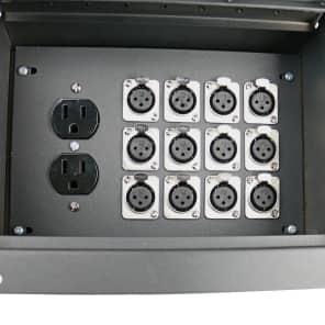 Elite Core Audio FBL12+AC Recessed Floor Box with 12 XLR Female Connectors and Duplex AC Black Box Outlet