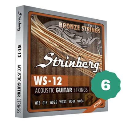 New Strinberg WS-12 Medium Bronze Acoustic Guitar Strings (6-PACK)