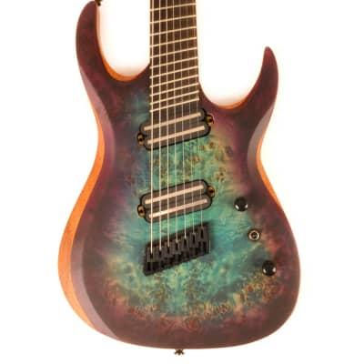 Agile Legacy Plus 72527 FX Satin Blue / Purple Burst Fan Fret 7 String Multi Scale Guitar