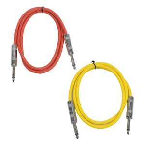 """Seismic Audio SASTSX-2-REDYELLOW 1/4"""" TS Male to 1/4"""" TS Male Patch Cables - 2' (2-Pack)"""