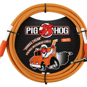 """Pig Hog PCH10CCR Vintage Series 1/4"""" TS Straight to Right-Angle Instrument/Guitar Cable - 10'"""