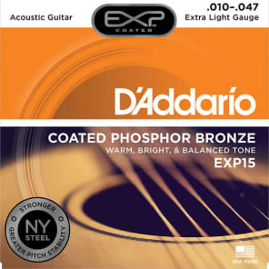 D'Addario EXP15 Coated Extra Light Acoustic Guitar Strings
