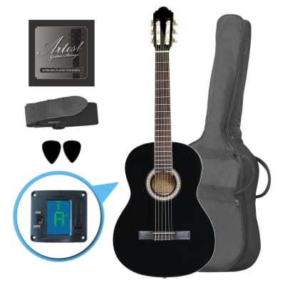 Artist CL44BK Full Size Classical Nylon String Guitar Pack 39 - Black for sale