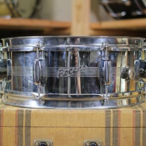 "Rogers ""7-Line"" Holiday 5x14"" 8-Lug Chrome Over Brass Snare Drum with Bread and Butter Lugs Early 1960s"