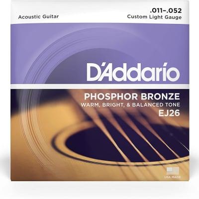 D'Addario Phosphor Bronze Acoustic Guitar Strings - EJ26 Custom Light 11-52