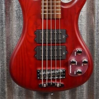 Warwick Rockbass Corvette $$ Double Buck Burgundy 5 String Bass & Bag #1118