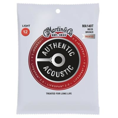 Martin MA550T Authentic Acoustic Lifespan Treated Medium 92/8 Acoustic Guitar Strings