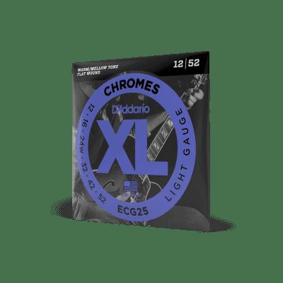 D'Addario ECG25 XL Chromes Flatwound Electric Guitar Strings, Light Gauge Standard