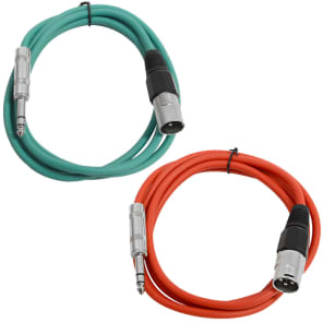 """Seismic Audio SATRXL-M6-GREENRED 1/4"""" TRS Male to XLR Male Patch Cables - 6' (2-Pack)"""